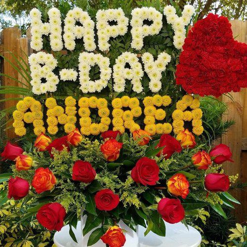 """Personalized Flower Arrangement """"HAPPY BDAY (Name – Up To 6 Letters)"""" Birthday flowers"""