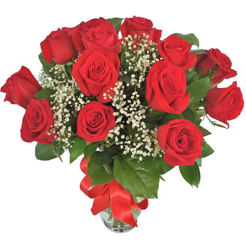Fabulous 12 Roses Vase Love Flowers
